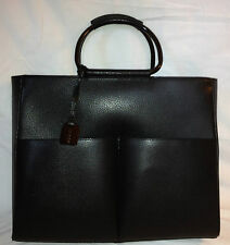 Authentic Gucci Women's Briefcase Tote Bag Purse Black Pebbled Leather w/Dustbag
