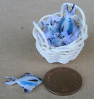 1:12 Scale 4 Fish In A Basket (c) + Ice Dolls House Mini Shop Food Accessory D