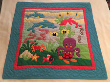 """Handmade Baby Quilt Appliqued Sea Ocean Turtle Fish Octopus Dolphin Shell 41x41"""""""