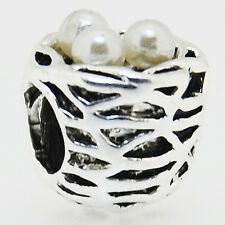 One Bird's Nest European Charm  Spacer Bead with Faux Pearl Eggs Small Bird Bead