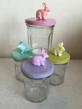 NEW 4 Pastel Colored Easter Rabbit Bunny Glass Mason Jars Rubber Top Decoration