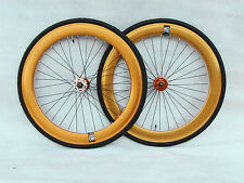 NOLOGO Gold 60MM Single Speed wheelsets Fixed Fixie 700c flip-flop hub wheelset