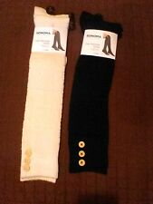 Lot Two Pair Super Cute Over The Knee Socks With Buttons NWT
