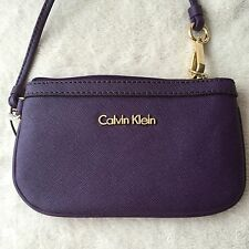 Calvin Klein Violet  Leather Case Cover Wristlet Purse  Mobile Phone.