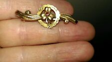 Antique 9 ct gold ruby and rose gold attractive dianty bar brooch lucky clover