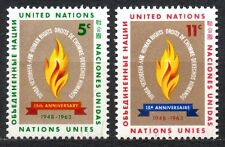 UN / New York office - 1963 Human Rights day Mi. 136-37 MNH