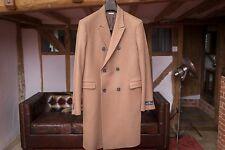 AQUASCUTUM doppio petto cappotto di lana di cammello Made in Italy Taglia 38R IT.48 nuovo senza etichetta