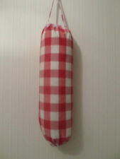 Red Big Check Carrier Bag Holder/Dispencer  Homecrafted Shabby Chic