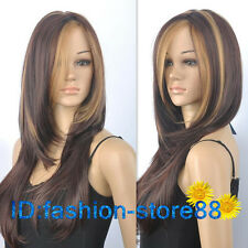 Sexy ladies Medium long Dark Brown Mixed Straight Natural Hair wigs / wig cap