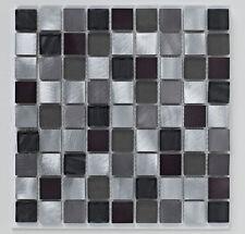 Black Metal Glass Bathroom Mosaic Tiles 30x30cm Sheets
