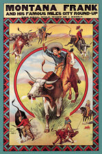 MONTANA FRANK AND HIS FAMOUS MILES CITY ROUND-UP ADVERTISING POSTER