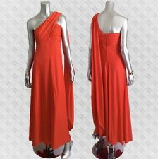 Vintage 70S Maxi DRESS Gown Red Grecian Goddess Halstonesque  S M