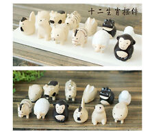 Set of 12 Miniature Animals of CHINESE Birth Year Figurine Statue Decorative
