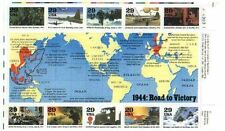 WWII World at War unused US stamps 1944 with map