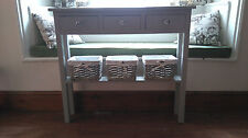 H80 W80 D25cm BESPOKE LAURA ASHLEY GREY CONSOLE HALL TELEPHONE TABLE 3 DRAWER