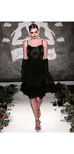 """$1000 JULIA CLANCEY UK LONDON BLACK CHIFFON """"AMBER"""" FASHION WEEK DRESS XS S UK10"""