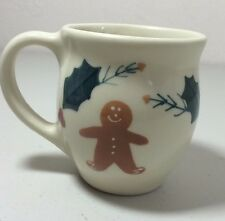 Hartstone Pottery Gingerbread Man & Holly Latte Mug Christmas Holiday Coffee Cup