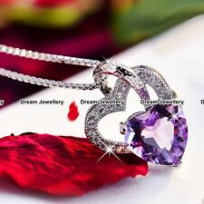 Double Heart Necklace Purple Silver Pendant Christmas Gift for Her Women Girl Z1