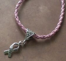 Hope Breast Cancer Awareness Ribbon Charm Pink Leather Charm Bracelet