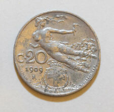ITALY: 20 Centimes coin since 1909 in AUNC Condition. ITALIA