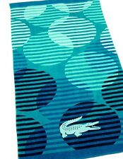 NEW LACOSTE Fizzy Turquoise Beach Pool Cotton Towel Crocodile 36x72 MSRP $42
