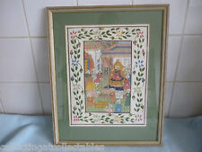 No 3 Vintage Persian Mughal Painting On Silk Depicts a Darbar Court Scene