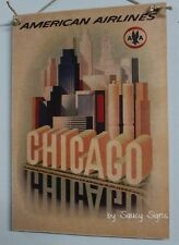 American Airlines Chicago Vintage Retro Advertising Travel Poster on Wood Sign