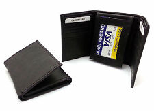 Trifold Genuine Sheep Leather Black Plain Compact Wallet  - 12 Card Pockets