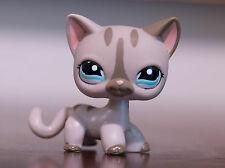 *Littlest Pet Shop* LPS Short Hair Gray Striped Kitty Cat #1206 w/ Dot Aqua eyes