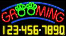 "NEW ""GROOMING"" PET w/YOUR PHONE NUMBER 37x20 NEON SIGN W/CUSTOM OPTIONS 15069"
