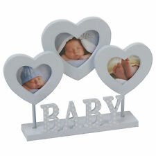 NEW ' BABY BOY ' PINK MDF 3 x SMALL PHOTOS BLUE HEARTS WOOD PICTURE FRAME GIFTS