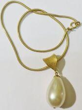 pendentif collier bijou vintage 70 couleur or grosse perle poire nacrée * 5319