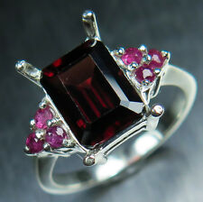4.05ct Natural Spessartite garnet Dark Red & rubies Sterling 925 silver ring