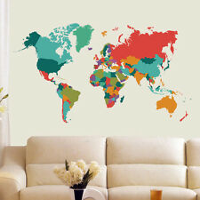 Colorful World Map PVC Wall Decals Removable Living Room Home Art Stickers