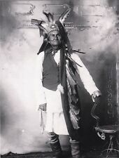 "*Postcard-""Geronimo"" (Indian)...Poses Holding Old Antique Chair"""