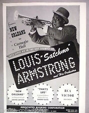 """Louis """"Satchmo"""" Armstrong PRINT AD - 1947-1948"""