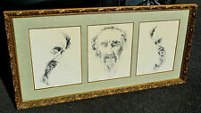ARI BEN THREE FACES LIMITED EDITION PRINTS-MATTED / FRAMED-GILT WOOD-ISRAEL ART