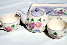 Tea For Two Teaset Purple Floral Rose Pattern With Tray Tea Pot and Two Cups