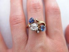 Jabel 14k Gold Old Mine Cut Diamond & 2 Blue Sapphires Swirl Ring Antique