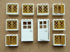 LEGO windows + doors for princess house (pack of 10) 2x4x3 white gold castle