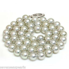 Akoya Pearl Necklace 8 - 7.5 MM AAA Gray Green 14kt