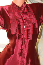 Marks&Spencer shiny red silky fitted shirt blouse top size 10