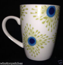 STEPHANIE RYAN 2014 PAVO PEACOCK MUG 10 OZ FEATHER SPOTS BLUE & GREEN