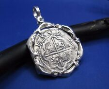 New Sterling Silver Atocha Replica Shipwreck Coin Pendant with Dolphin Bezel