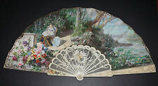 SUPERB LARGE ANTIQUE FRENCH CHERUBS CARVED HAND PAINTED SCENE FAN ALFRED JOREL ?
