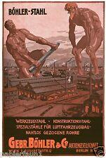 Böhler Stahl Wien Berlin Reklame von 1917 Riese Goliath Fabrik Stotz Eisen iron