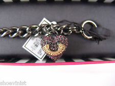 JUICY COUTURE AMETHYST PAVE HEART BANNER STARTER BRACELET IN SILVER BRAND NEW