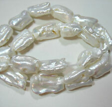 "White Freshwater Pearl 19-25mm Baroque Rectangle 10 Beads 8"" 1.5mm Large Hole"