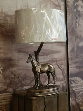 Fabulous Designer Cold Cast Bronze Standing Horse Table Lamp Light With Shade