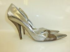 CHRISTIAN DIOR SILVER SNAKESKIN LEATHER HEELS SIZE 39 6